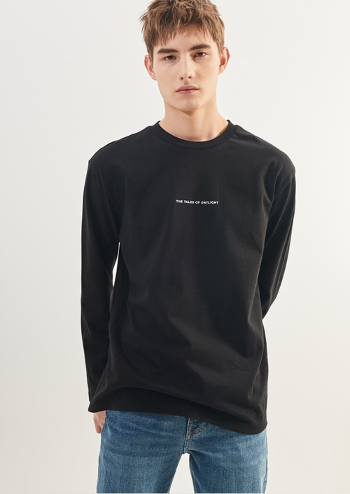 MENS LETTERING LONG SLEEVE T-SHIRTS_BK (PWTZ1RLR16MOBK)